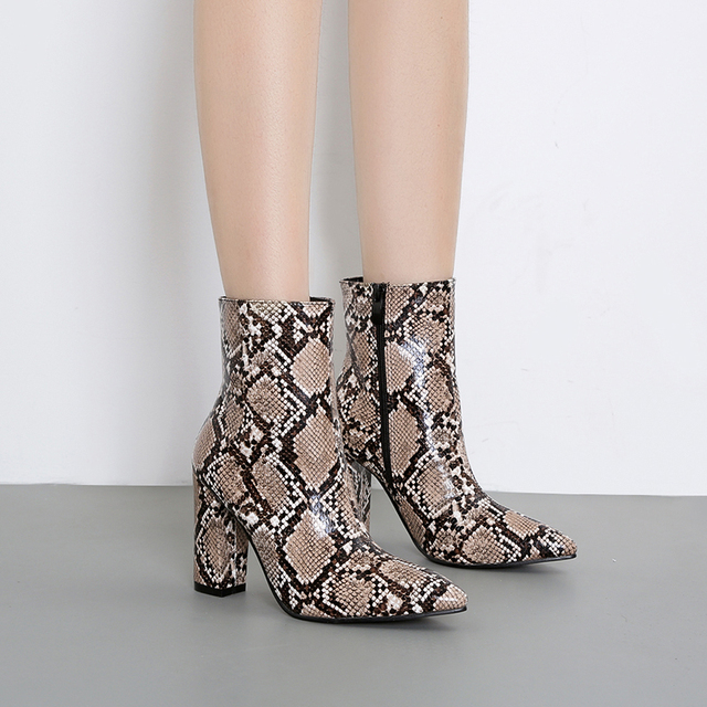 52ed12c91f5b Snake Print Ankle boots Woman High heels Shoes Zip Sexy Chunky heel boots  fashion Ladies Winter Booties Casual Pointed toe Boot