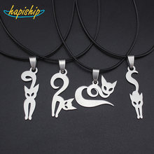 "Hapiship 2017 New Women/Men's Jewelry Stainless Steel Little Cute Cat /Dog lover 3.7cmX2.0cm Pendant Short 17"" Necklace SS-Cat(China)"