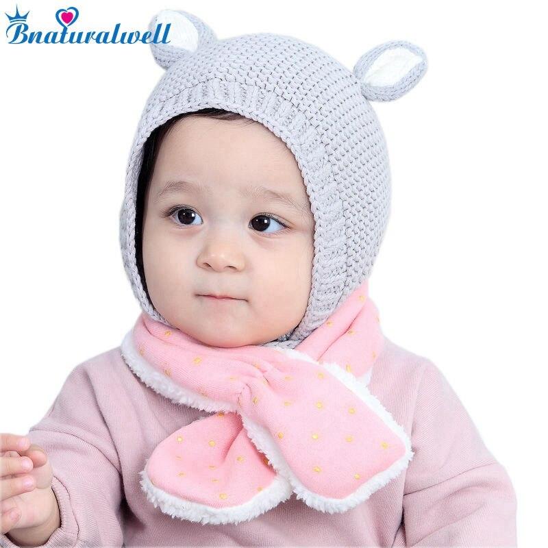 Bnaturalwell New soft baby Knitted Cotton Bonnet Hat Infant Winter Warm Cap Rabbit Ear hat Toddler cotton beanies H081S