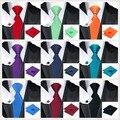Conjunto Gravata para Os Homens Ternos De Seda sólidos Laços Dos Homens Pescoço Gravata Lenço Abotoaduras Gravatás Laços para Homens Vestidos de Casamento Corbatas