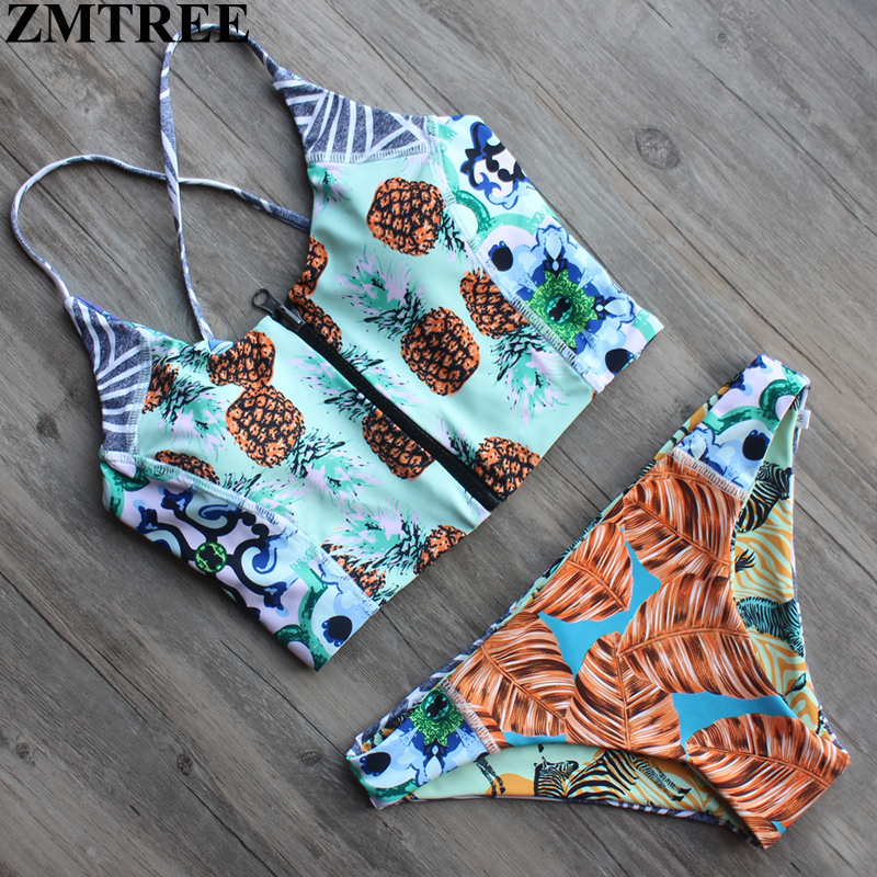 Zmtree Новинка 2017 Дизайн Reversible Zip комплект бикини сексуальные Купальники для малышек Для женщин низкая талия ванный комплект Push Up бразильский ... ...