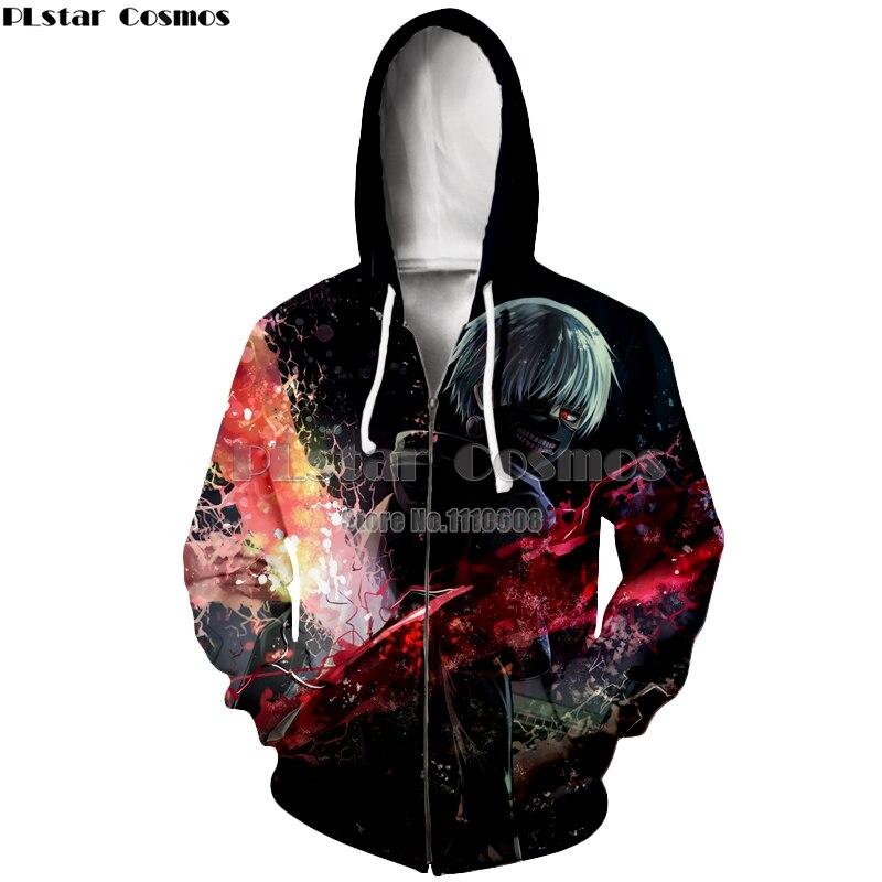 Newest zipper hoodies anime Tokyo Ghoul 3d Hoodies Autumn Fashion Hoodie Tokyo Ghoul harajuku Hip Hop Men Women Sweatshirt coat