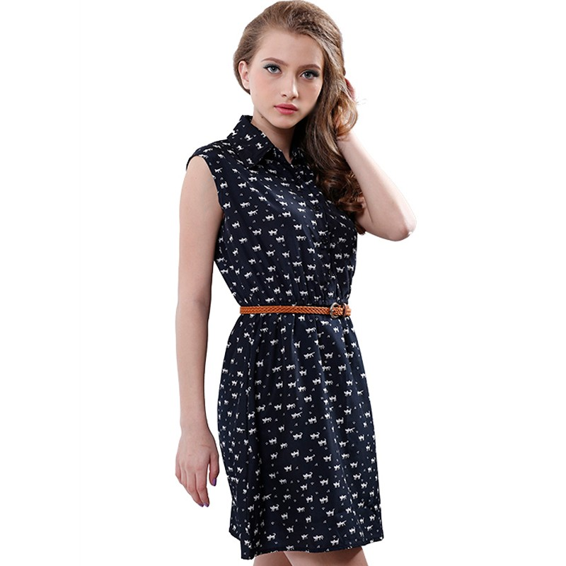 Softu Hot Sale Women's Fashion Summer Casual Shirts Dress Sleeveless Tank Knee Length A Line Dress Cat Printed Dresses With Belt 7