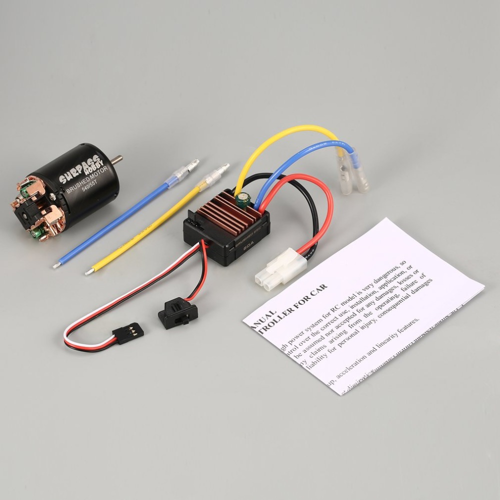 Surpass Hobby540 55/80T/60A Brushed Motor 60A ESC with 5V/2A BEC for Axial SCX10 RC4WD D90 1/10 RC Crawler Off-road Climbing Car