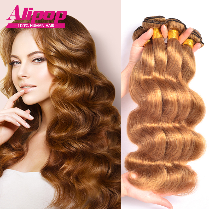 Honey Blonde Brazilian Hair Weave Color 27 Body Wave 100 Human Bundles 7a Virgin Extension On Aliexpress Alibaba