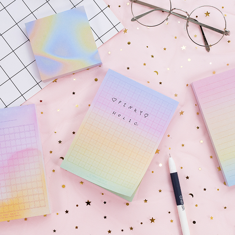 Rainbow Laser Color Note Book 100 Sheets Grid Line Memo Diary Planner Notebook Stationery Office School Supplies A6337