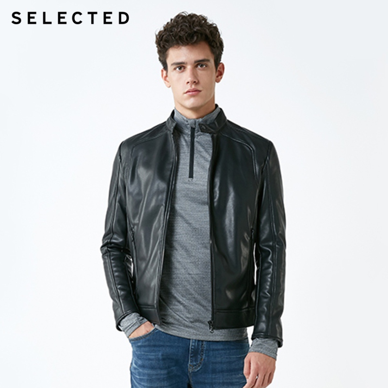 SELECTED Stand up Collar Leather Jacket Men's Zip through PU Jacket S  4184P3506-in Faux Leather Coats from Men's Clothing