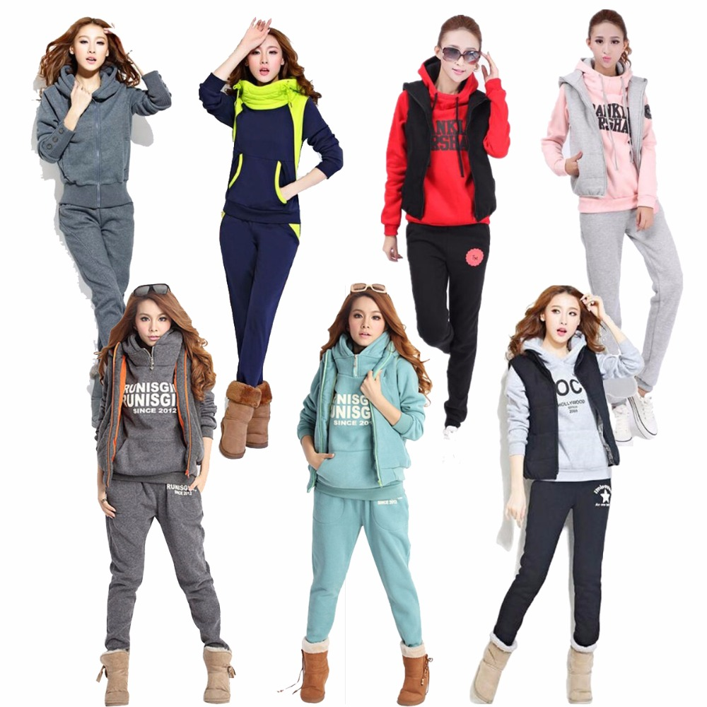 3PCS Running Sets Womens Hoodies Warm Letter Tracksuit Set Thicken Sweat Tops Pants Suit Female Plus Velvet Thick Clothing