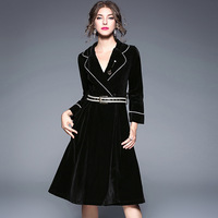 Women Velvet Autumn Dress Vestidos Black Elegant Dress Clothes Women High Quality Elbise Roupa Feminina Roupas