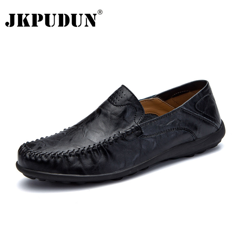 JKPUDUN Men Shoes Casual Luxury Brand Italian Mens Loafers Genuine Leather Soft Moccasins Comfy Breathable Slip On Driving Shoes