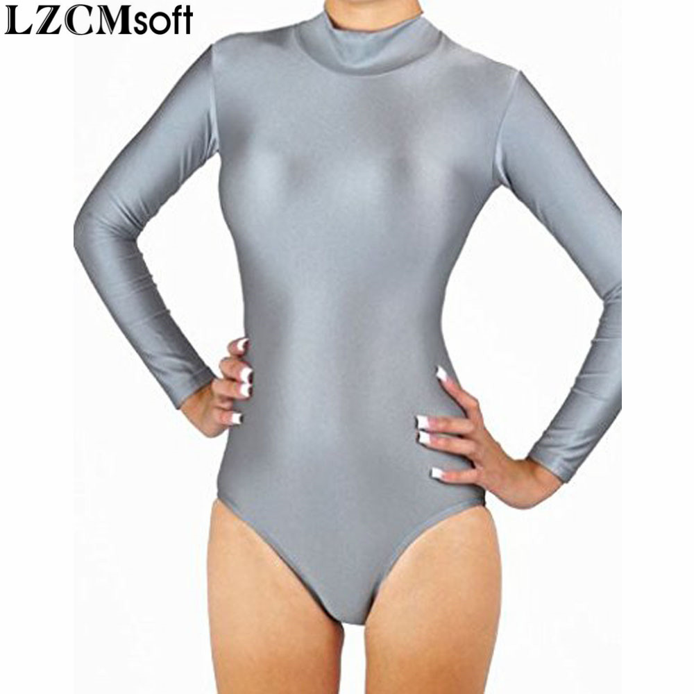 LZCMsoft Women Long Sleeve Ballet Dance Gymnastics Leotards Adult Lycra Mock Neck Black Leotard Spandex Dancewear Fitness Girls