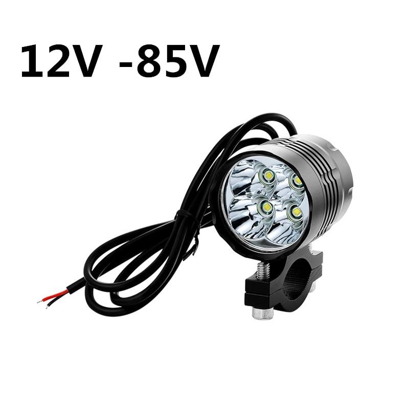 Waterproof 12V -85V Ebike Light Motorcycle Headlight 40W 4x Cree XML T6 Led High Bright Motorbike Spotlight 3 Modes