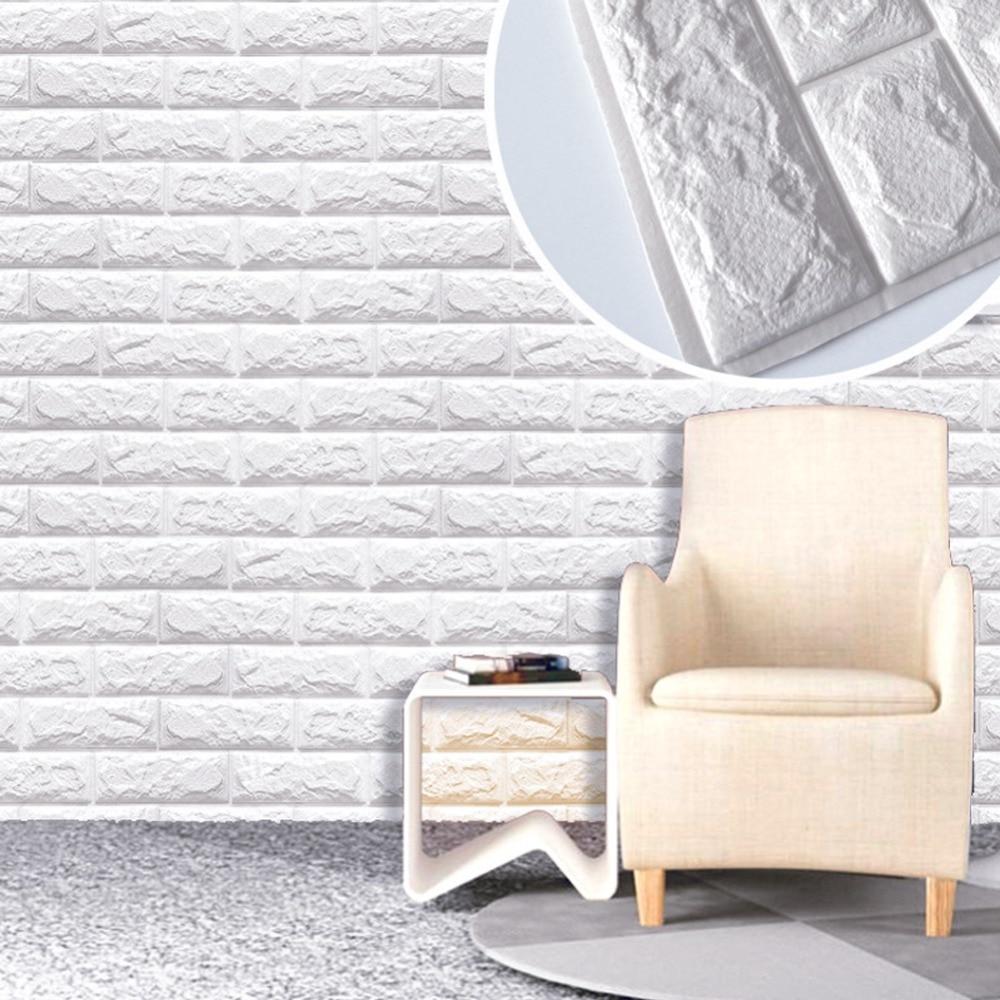 3D PE Foam DIY Brick Stone Embossed Wall Paper Wall Stickers Wall Decor 29x59cm