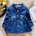 2016 primavera/outono Moda Bebê Menina Jaqueta Jeans Outerwear Casuais Crianças Jaqueta de Cowboy para crianças 1-4 anos outerwear