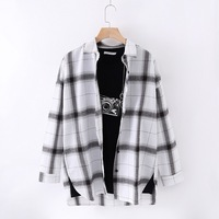 464e0c90e1 Women Plaid Shirts Japanese Style Loose Spring Long Sleeve Blouses Flannel  Plaid Shirt Casual Female Plus