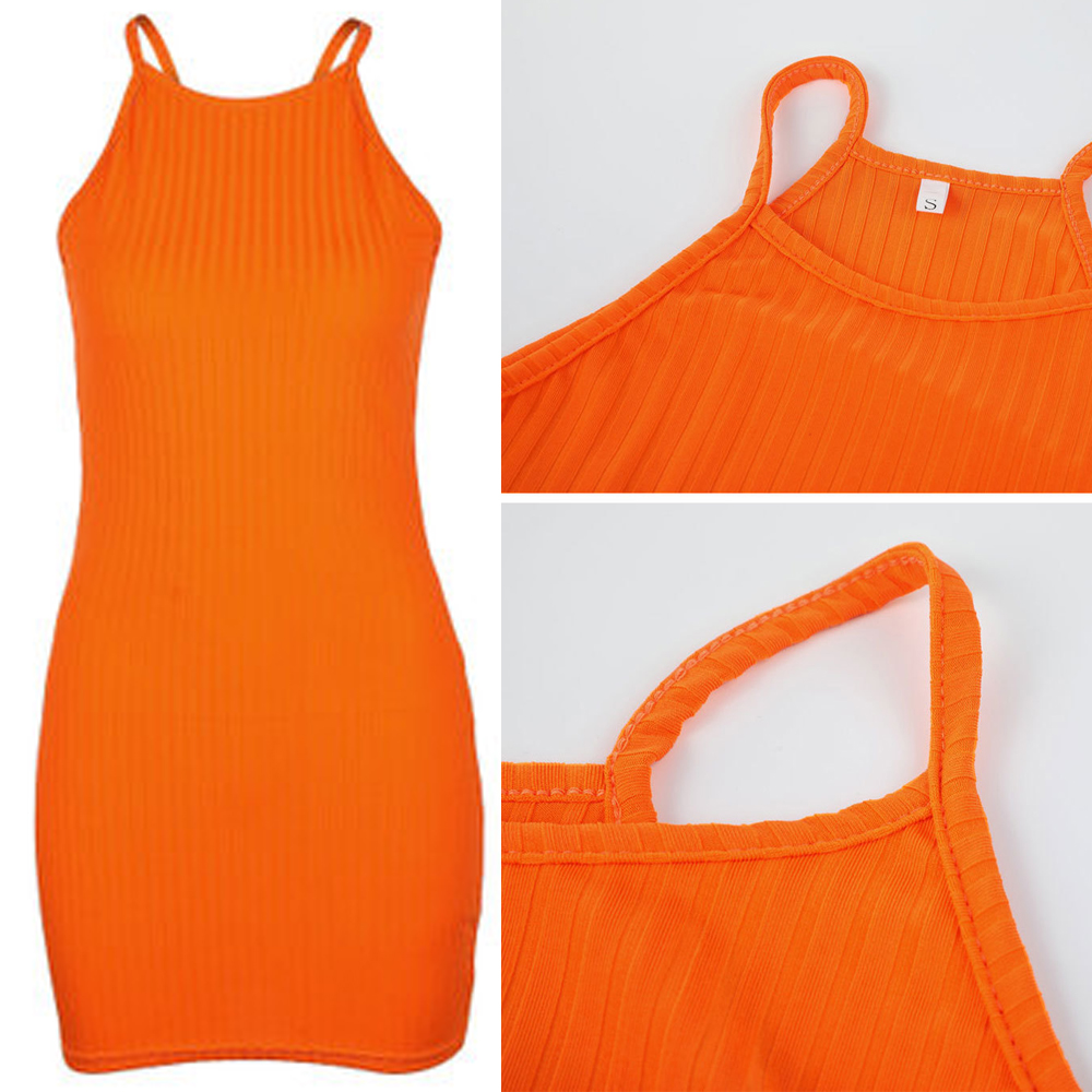 HTB1WjkIoFuWBuNjSszbq6AS7FXai New Women's Ladies Dresses Sexy Summer Sleeveless Tank Slim Mini Short Knitted Bodycon SunDress Orange Black