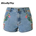 BiLaRyThy Summer Style Casual Women Straight Denim Shorts Floral Embroidery High Waist Short Jeans
