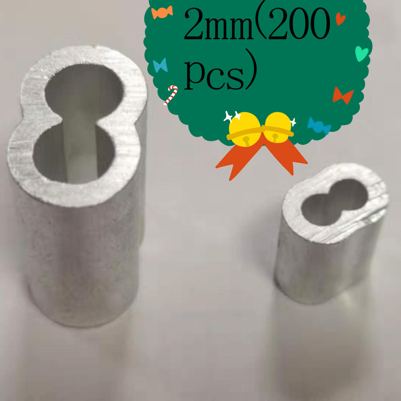 200pcs Diameter 2mm Aluminium Sleeves Oval Double Hole For Crimping Wire Rope