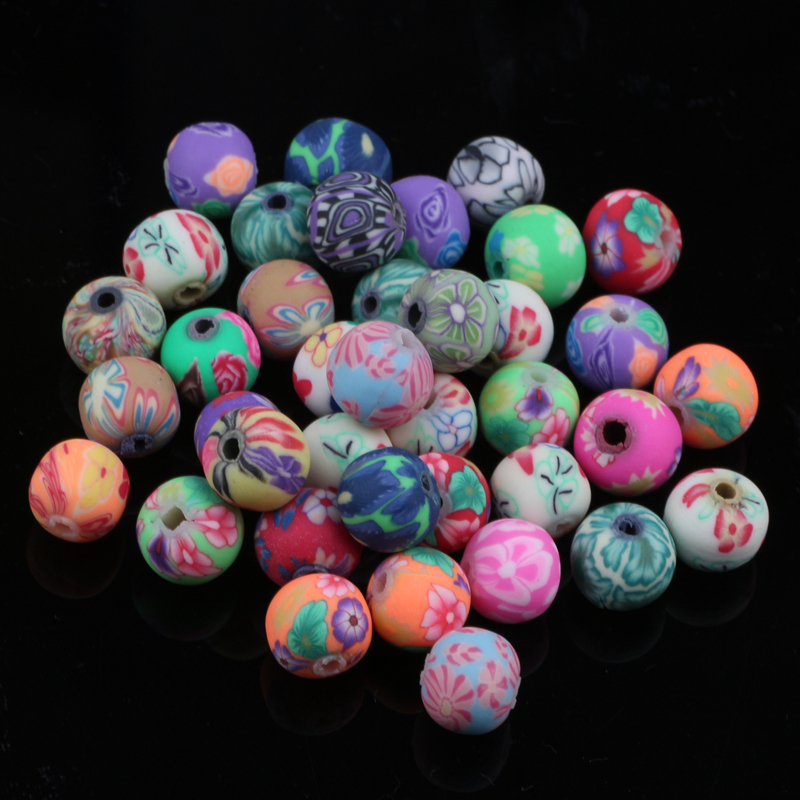 200pcs/lot Assorted Colors 6mm Polymer Clay Bead Ball Round Fimo Diy Jewelry Components Spacer Beads Jewellery Making Materials