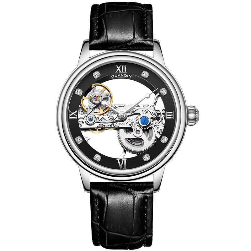 GUANQIN, новинка, турбийон, автоматические часы, мужские спортивные часы, светящиеся часы, мужские механические скелетоны, водонепроницаемые, золотые, relogio masculino