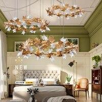 Modern Copper Maple Leaf Led Pendant Lights Lustre Crystal Living Room Led Pendant Lamp Designer Led Pendant Light Fixtures