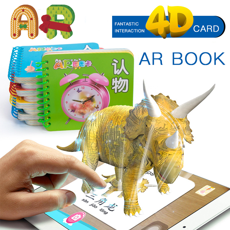 4D 3D AR Book Fancy Zoo Teaching Numbers Learning Alphabet Kids Books Educational Books Air Gun Children Books