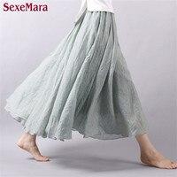 High Quality 2016 Summer New Vintage Bohemia Cotton Linen Pleated Women Boho Floor Length Long Maxi