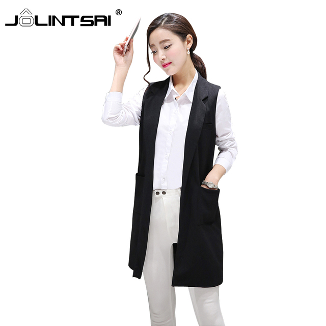2016 New Arrival Plus Size XXL colete feminino Long Vest Women  Female Suit Jacket Women Waistcoat Black Female Coat Cardigan