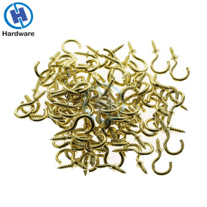50Pcs/set 1/2 Inches Brass Plated Cup Hooks Shouldered Screw Hanging Hat Coat Peg Hanger High Quality(China)