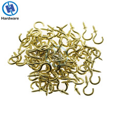 50Pcs/set 1/2 Inches Brass Plated Cup Hooks Shouldered Screw Hanging Hat Coat Peg Hanger High Quality