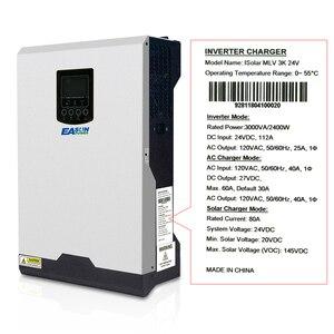 Image 3 - EASUN zasilanie 110V falownik solarny hybrydowy 3Kva 2400W inwerter Off Grid 24V 120V 80A MPPT czysta fala sinusoidalna przetwornica 60A ładowarka AC