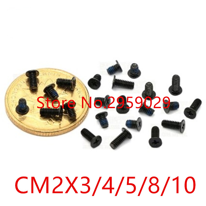 500pcs M2*3/4/5/8/10  CM2 CM black nylock plated Thin flat head philips machine screw computer screw steel точечный светильник philips led 2 5 3 5w3