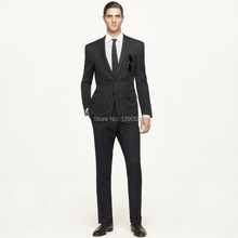 HOT SELLING 100% wool Hand made solid black  2 pieces(jacket+pants) two buttons slim notch lapel men suit oem