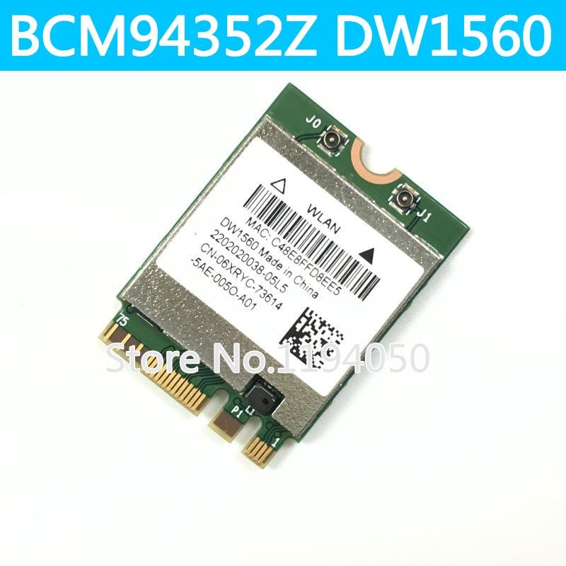 DW1560 BCM94352Z BCM94352 NGFF M.2 Wi-fi À INTERNET SEM FIOS Bluetooth 4.0 802.11ac 867 Mbps cartão de WLAN sem fio WIN7/WIN8/WIN8.1