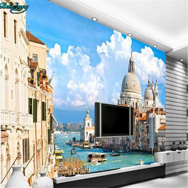 beibehang large custom venetian water city castle tv living room bedroom background home decoration