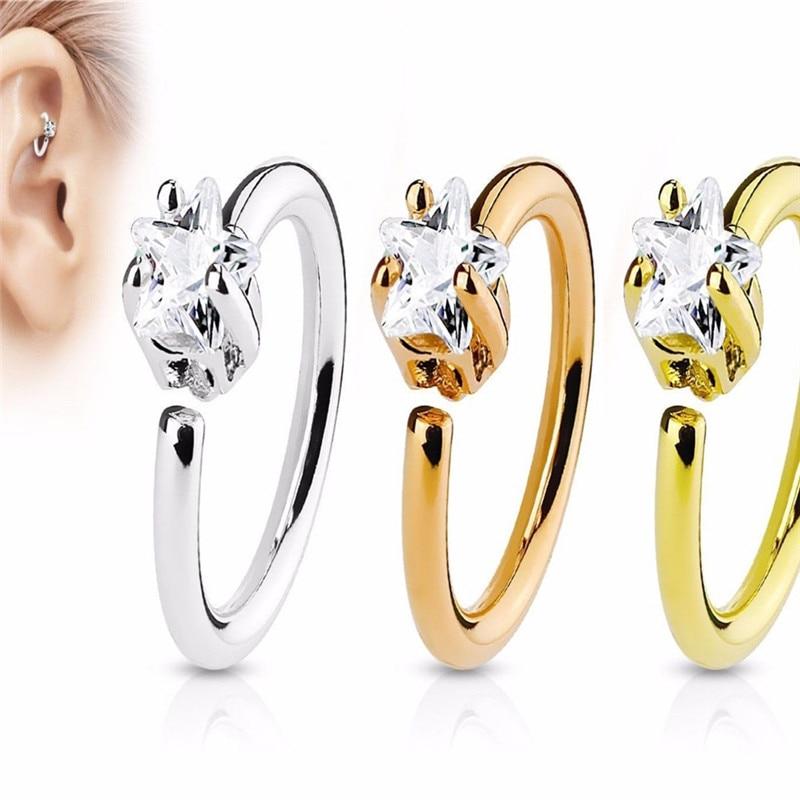 1Pc Nose Hoop Ring Piercing Helix Pentagram Cubic Zirconia Nose Studs Eyebrow Cartilage Earrings Navel Piercings Body Jewelry