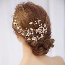 hot deal buy pearl rhinestone flower bride headband wedding hair jewelry gold leaf with rhinestone flower hair bands wedding hair ornaments