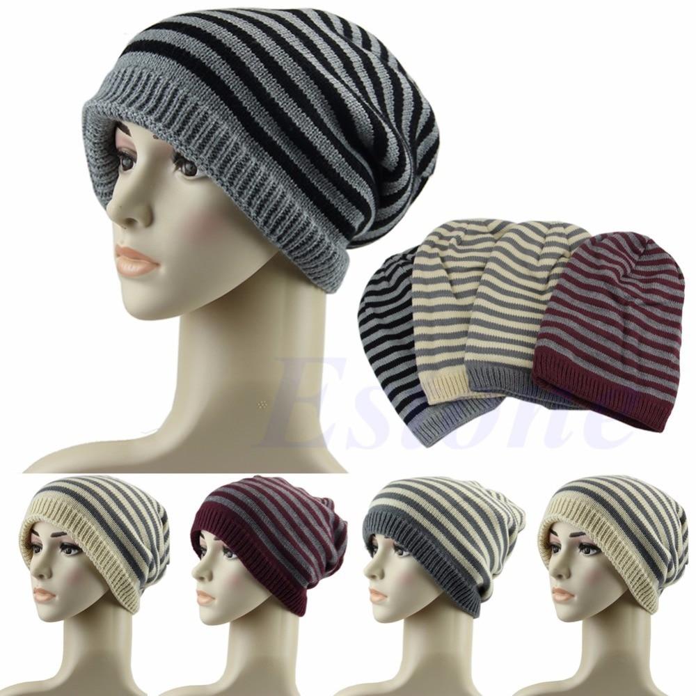 Mens Womens Hip-Hop Baggy Knit Beanie Winter Hat Ski Slouchy Skull Oversized Cap