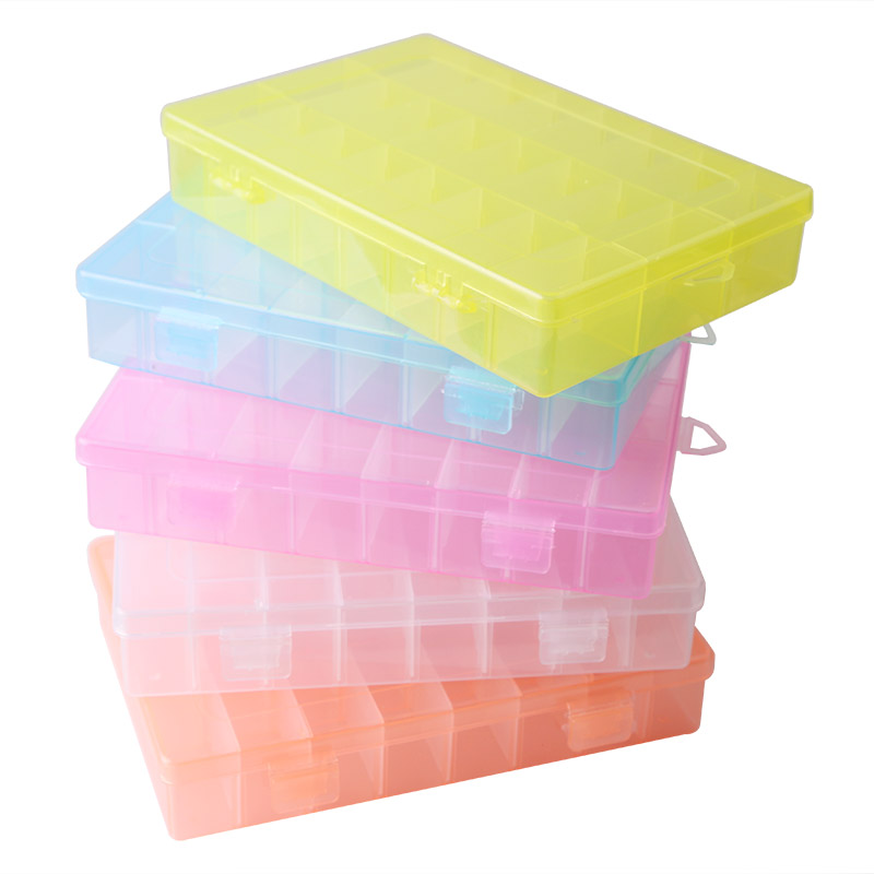 New Adjustable 24 Compartment Transparent Plastic Storage Box Jewelry Earring Case objects Display Organizer Caja de almacenaje