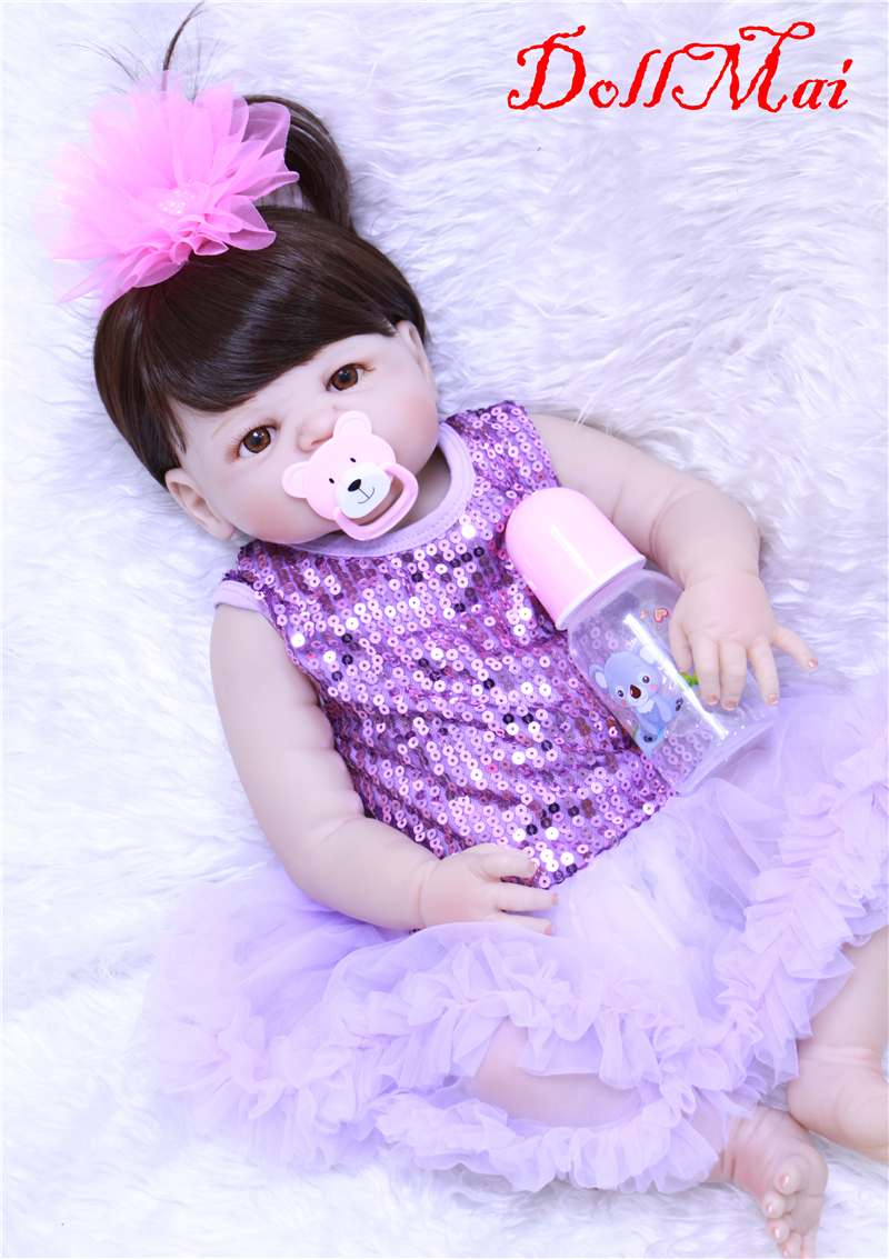 NPK fashion reborn baby toy doll  22 full silicone doll reborn girl baby for child  gift  toys  real alive bebe-reborn bonecasNPK fashion reborn baby toy doll  22 full silicone doll reborn girl baby for child  gift  toys  real alive bebe-reborn bonecas