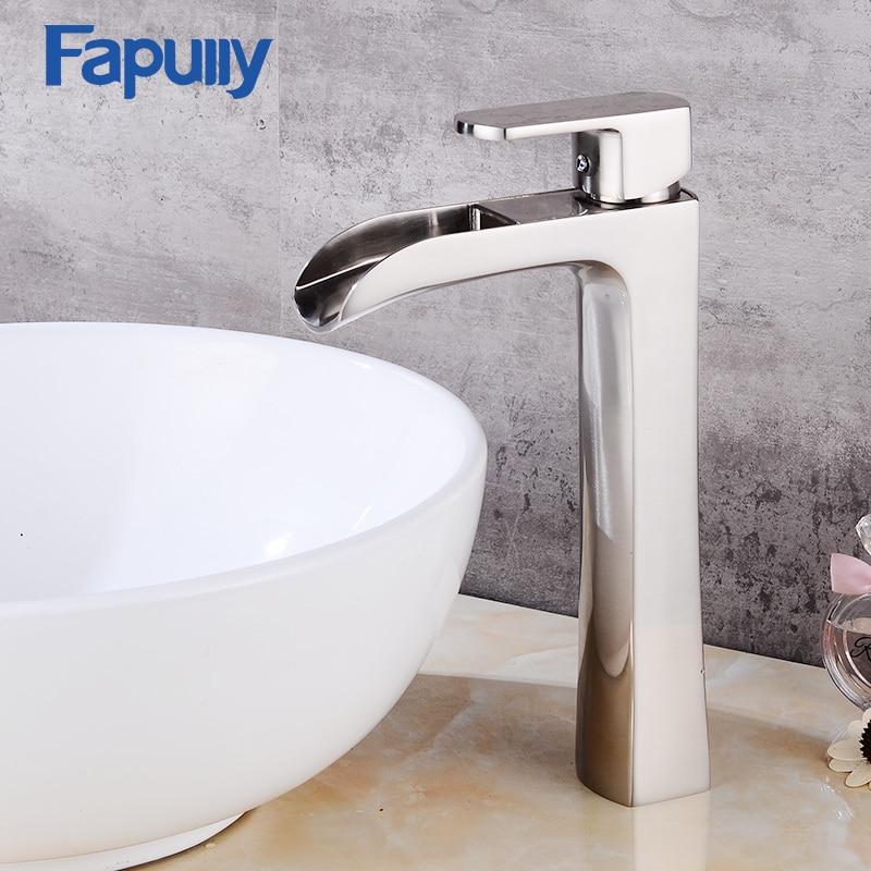 Fapuly banheiro torneira da pia de aço inoxidável escova níquel cachoeira torneira do banheiro vanity bath bacia pias misturadora 144-22n
