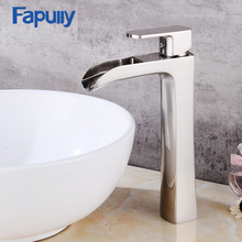 Fapuly Stainless steel brush Bathroom sink Faucet Waterfall Bath Basin Mixer Tap
