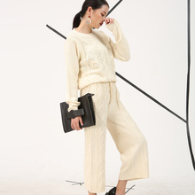 [soonyour] 2017 spring and spring new Korean Fashion round neck knit sweater pants suit thicker piece Women wholesale AS11670