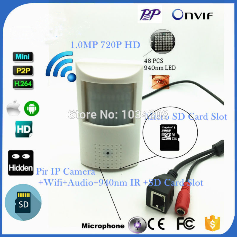 720P Wireless Mini Network Camera 940nm IR Night Vision Indoor Security CCTV Pir Wifi Pin hole Lens IP Camera With SD Card Slot