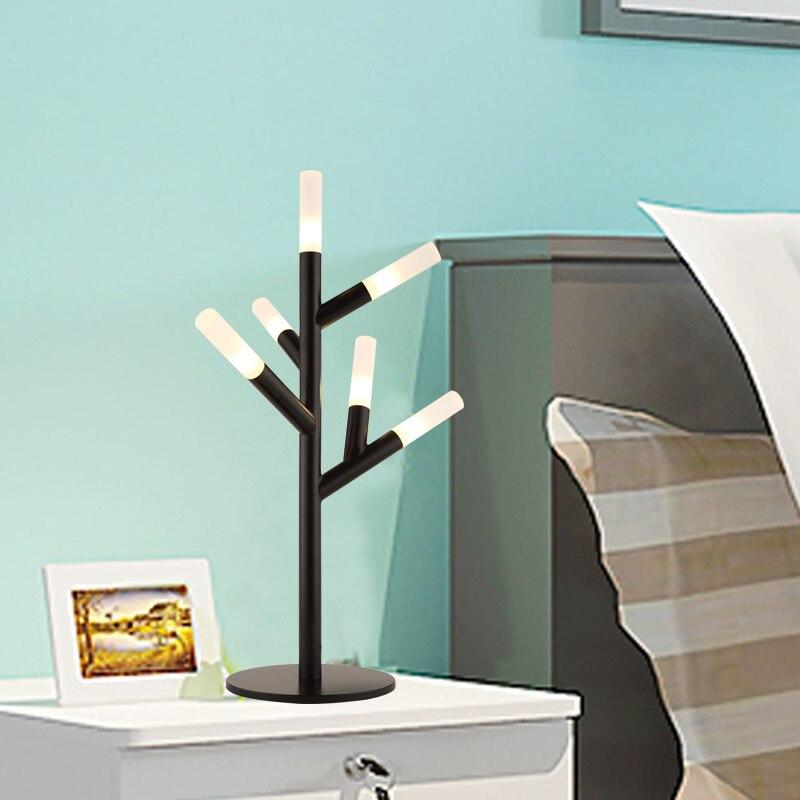 Филиал черный гладить светодиодный настольная лампа Ночной спальня теплой комнате ночники бытовой бар кофе Освещение g4 стол свет za918539