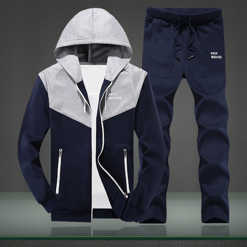 Tracksuit Men Set 2019 Spring Autumn Men's Sportswear 2PC Sets Zipper Hooded Sweatshirt Jacket+Pants Male Moleton Masculino Sets