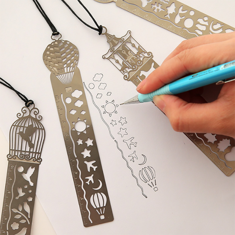 1Pc 10-15cm Straight Ruler Cute Kawaii Creative Horse Birdcage Hollow Metal Bookmark Ruler For Kids Student Gift School Supplies
