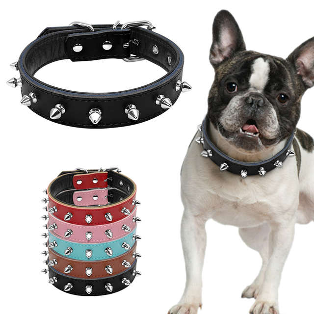 """1"""" Wide Cool Spiked Studded Padded Leather Dog Collars For Small Medium Dogs Pitbull Terrier 11-17"""" Adjustable S M L 5 Colors"""