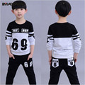 2015 children's spring Clothes Boys Casual 100% Cotton Clothing Set kids boys Clothes Patchwork Number sports suit Free Shipping
