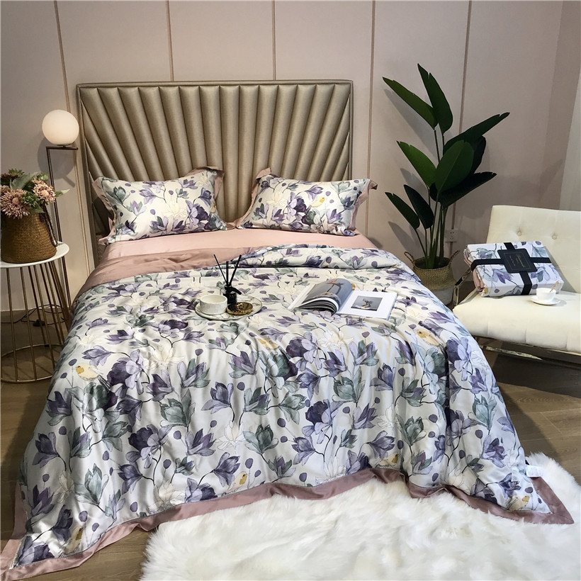Summer air conditioning Tencel Silk Throw Blanket Quilt Bedspread Bed cover set King Queen size Pillowcase